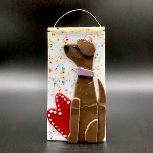 Panel-Small: Dog, Brown with Red Heart