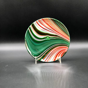 "Plate-6"": Red & Green Swirl-3"