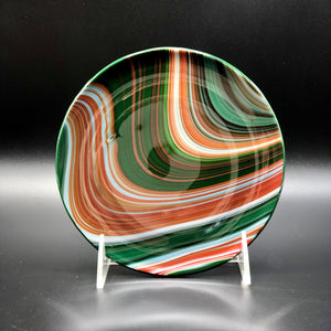 "Plate-6"": Red & Green Swirl-4"