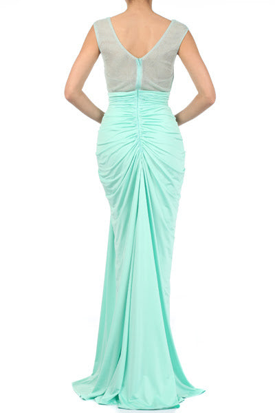 Cybil- Mint Green Stretch Fit and Flare Dress