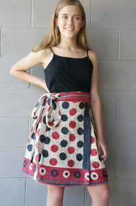 Black White & Red All Over Wrap Skirt