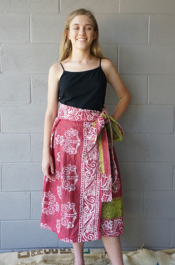 Strawberry Season Midi Wrap Skirt