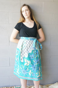 River Blooms Midi Wrap Skirt