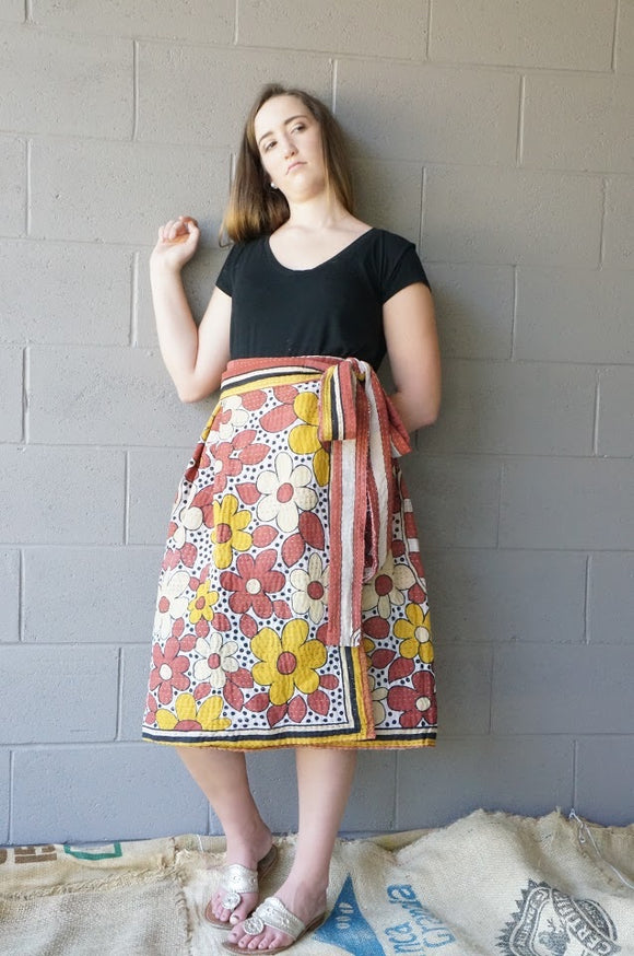 Dripping with Daisies Midi Wrap Skirt