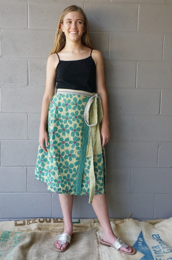 Overflowing Gardens Midi Wrap Skirt