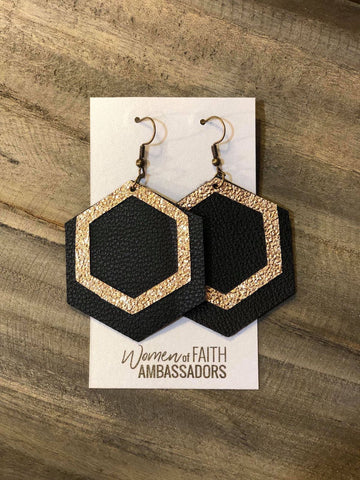 Perimeter Gold on Black Hexagon Earrings