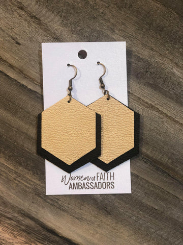 Solid Gold on Black Hexagon Earrings