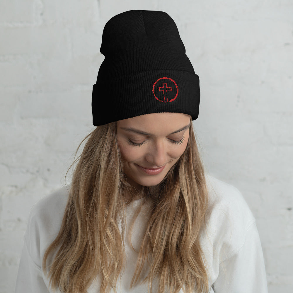 CIRCLE CROSS (RED) Cuffed Beanie