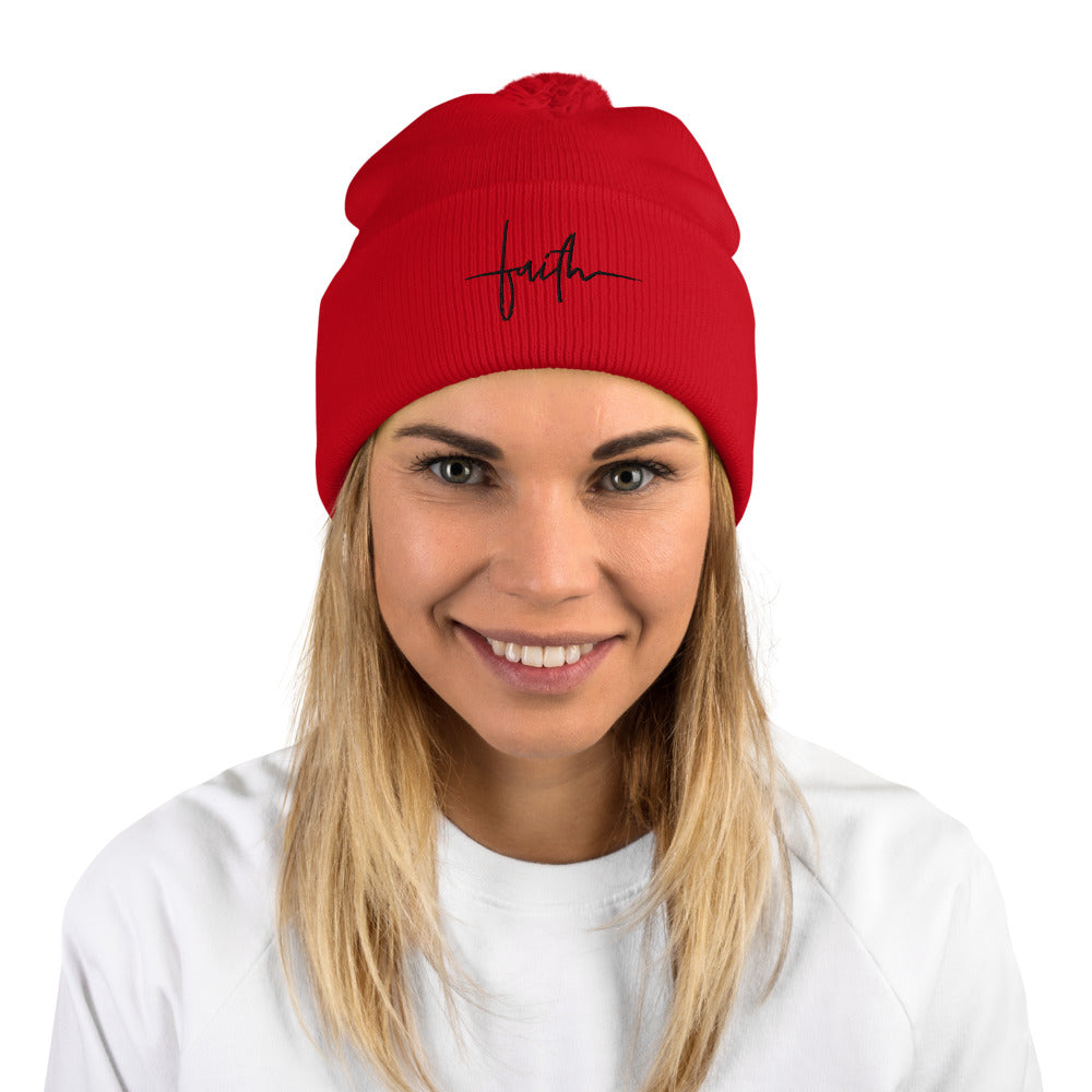 FAITH (Black) - Pom-Pom Beanie