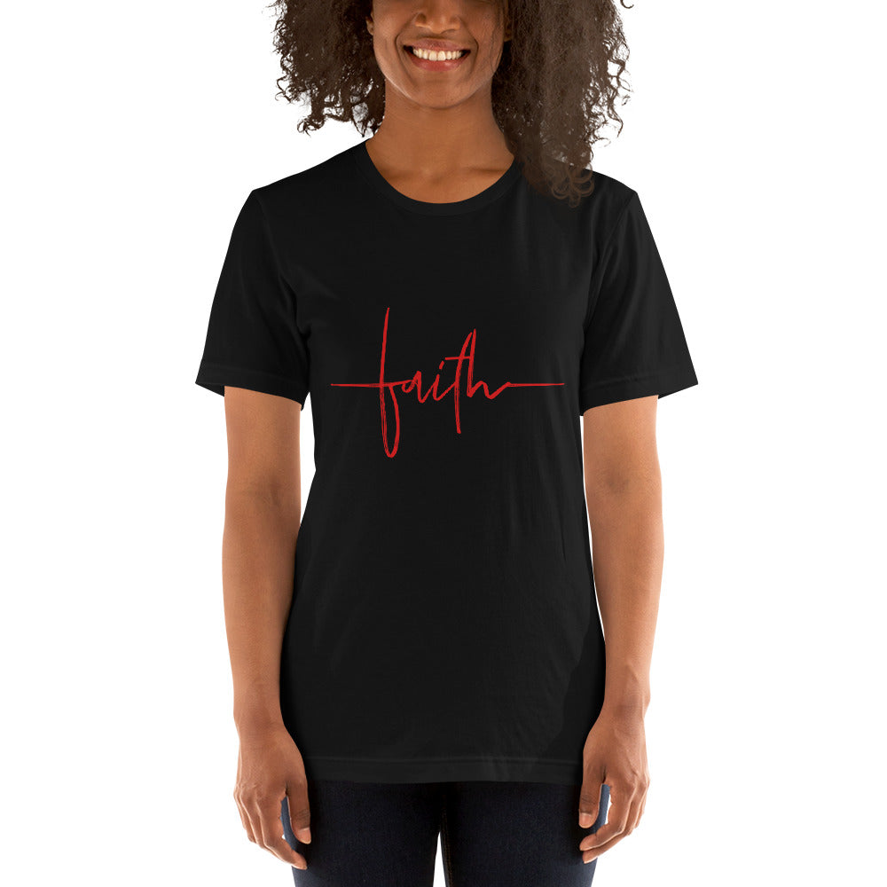 FAITH (RED) - Short-Sleeve Unisex T-Shirt