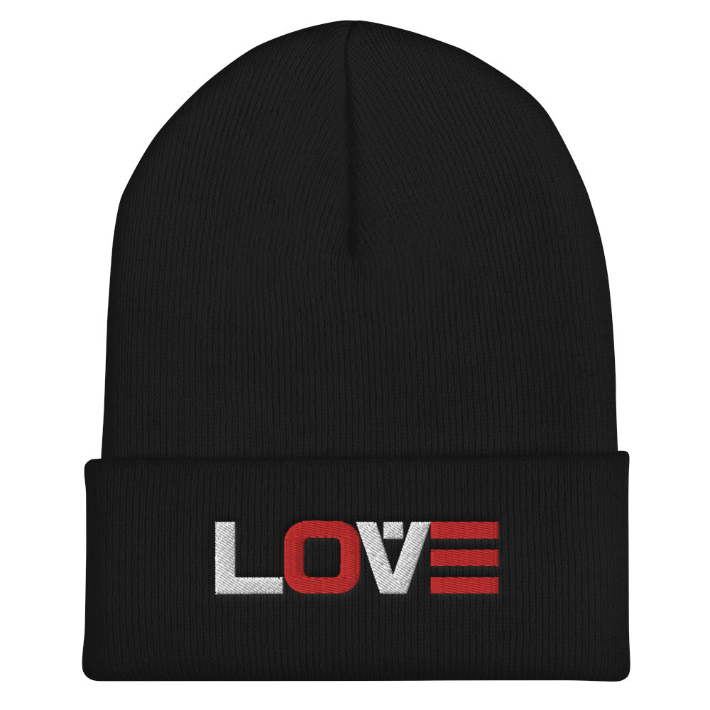 LOVE (RED-WHITE) Cuffed Beanie