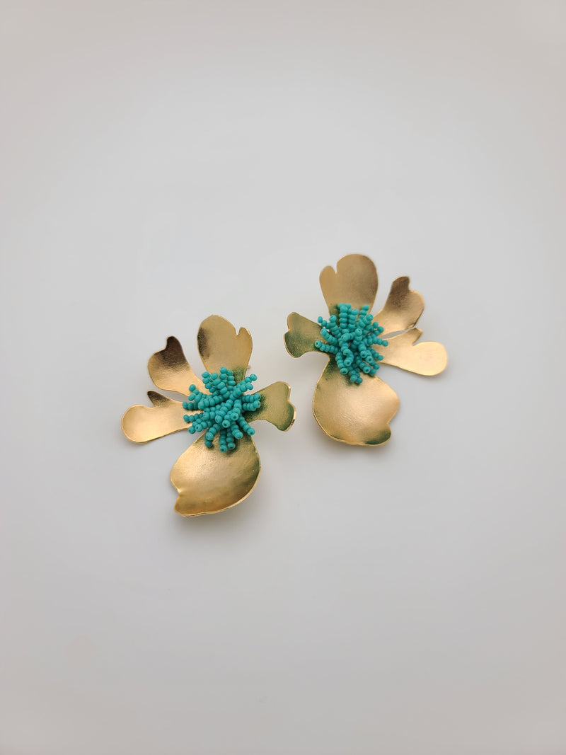 Iris Flower Earrings (turquoise green)