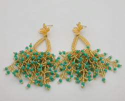 Peacock Drop Earrings (turquoise/gold)