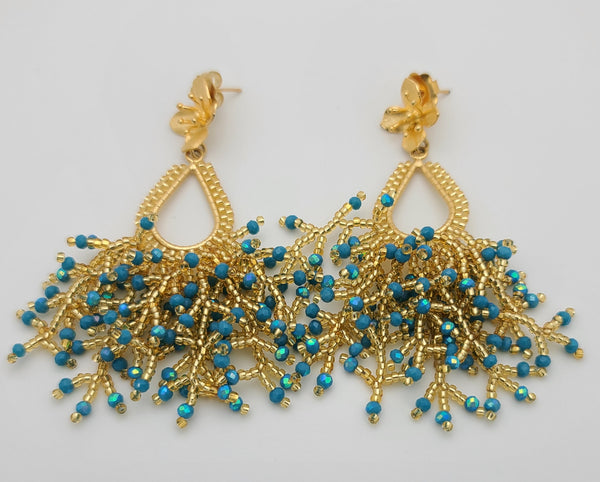 Peacock Drop Earrings (iridescent blue/gold)
