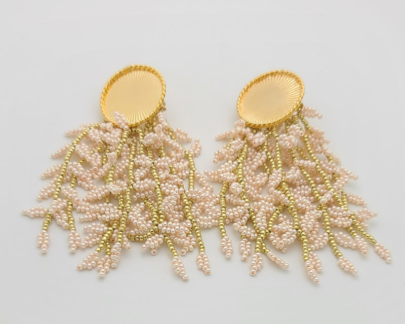 Melanie Disk Drop Earrings (pearl/gold)