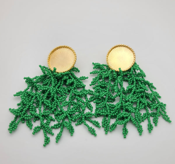 Melanie Disk Drop Earrings (summer green)