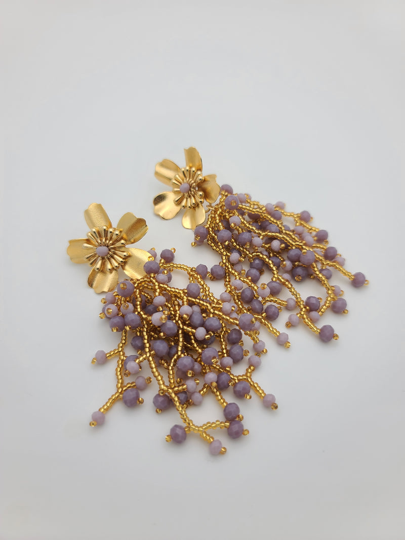 Kate drop beaded earrings (Lavender /gold)