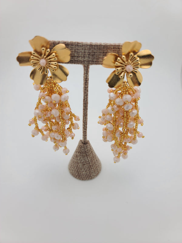 Kate drop beaded earrings (pearl/gold)