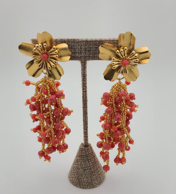 Kate drop beaded earrings (Coral/gold)