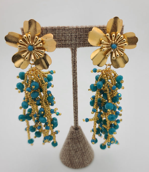 Kate drop beaded earrings (Blue/gold)