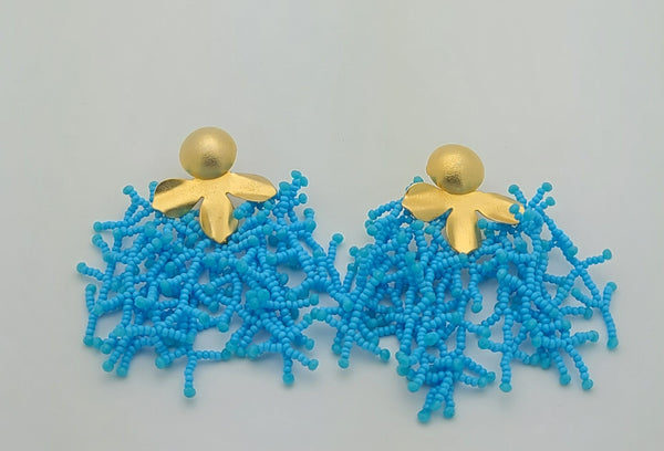 Brooke beaded Earrings (LightBlue)