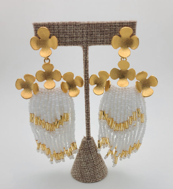 Cascade Earrings ( white/gold)