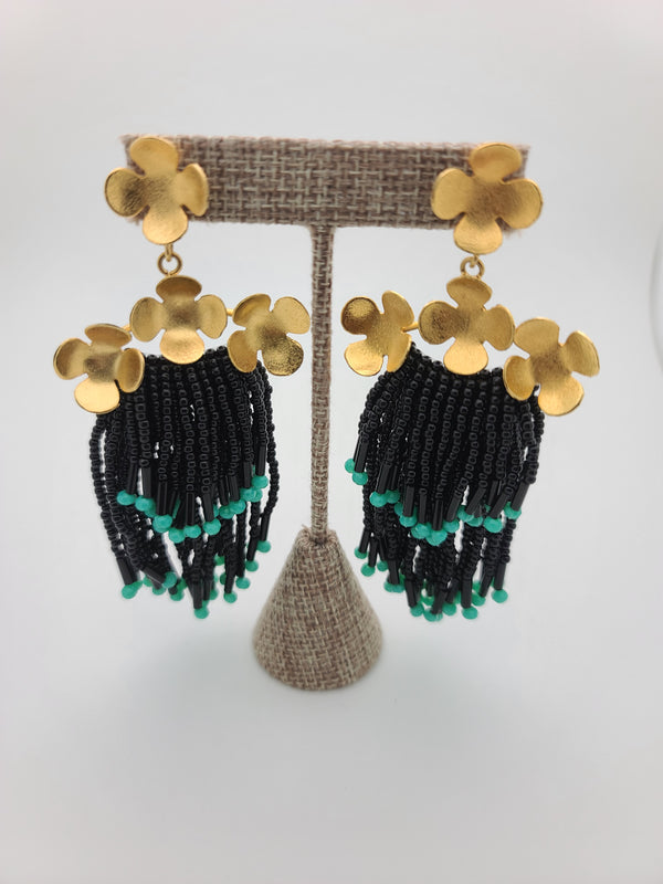 Cascade Earrings ( Black/Turquoise)
