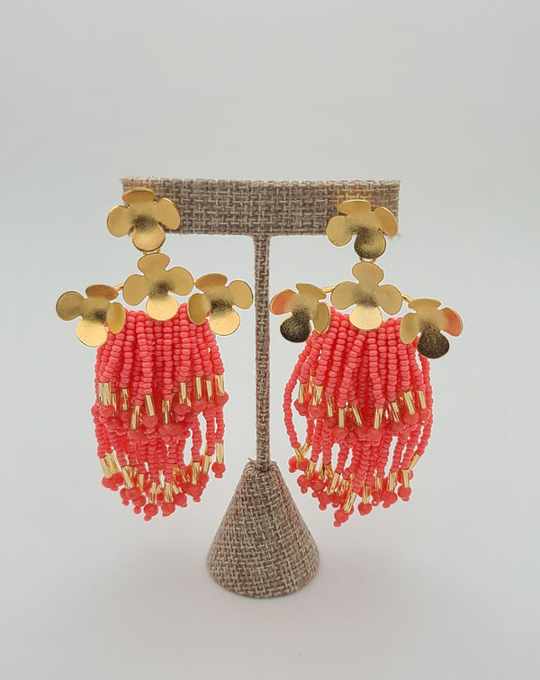 Cascade Earrings ( coral/gold)