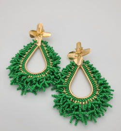 Amanda Drop Earrings (Green/gold)