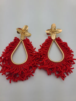 Amanda Drop Earrings (Red)