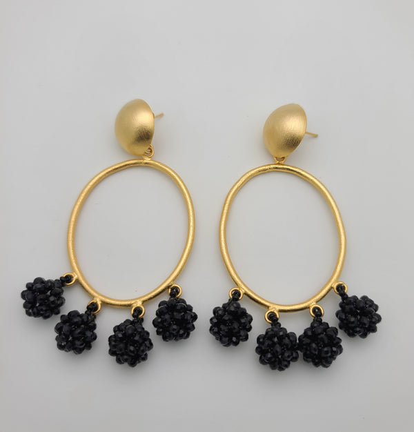 Celia Earrings (Oval/black)