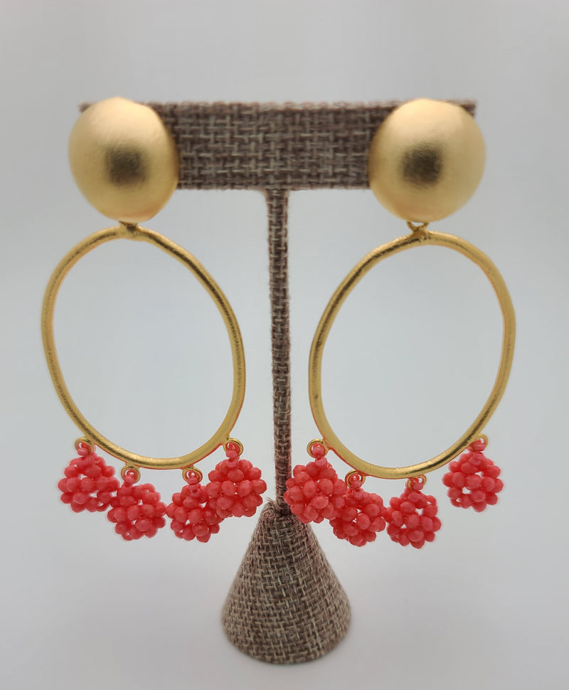 Celia Earrings (Oval/coral)