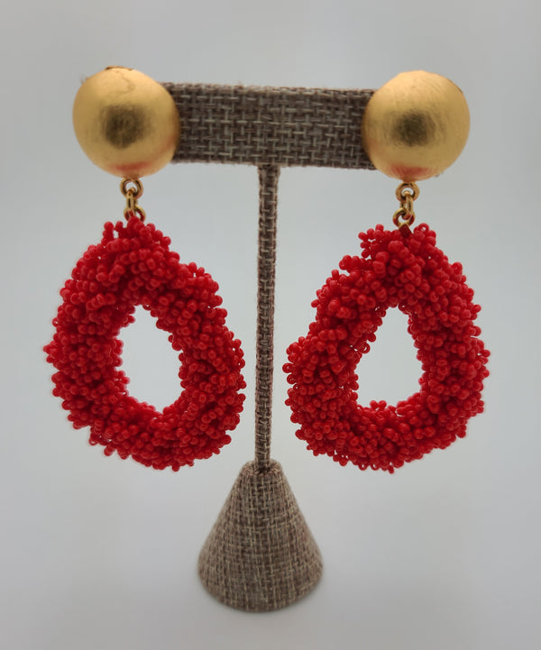Bernadette Drop Earrings (Red)