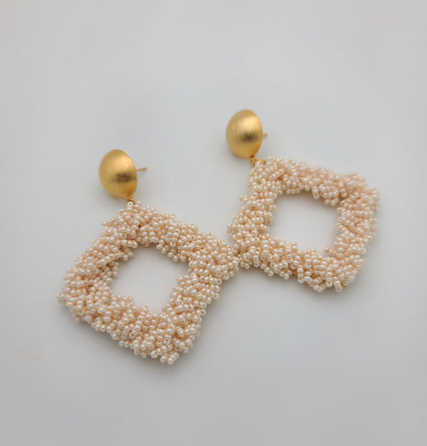 Bernadette Diamond Shape Earrings (Pearl)