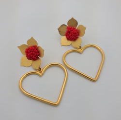 Love earrings with flower post
