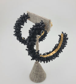 Kayla Beaded Hoops (Black)