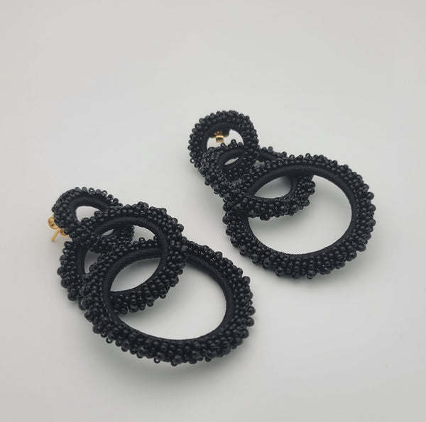 Stella Beaded Hoops (Black)