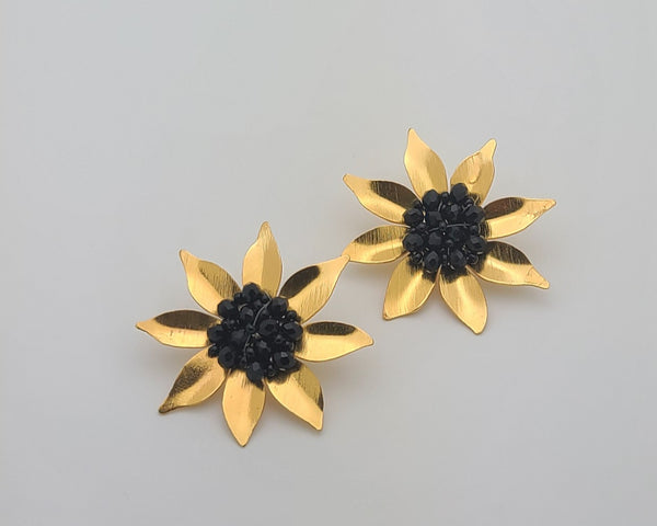 Girasol Post Earrings  (Black)