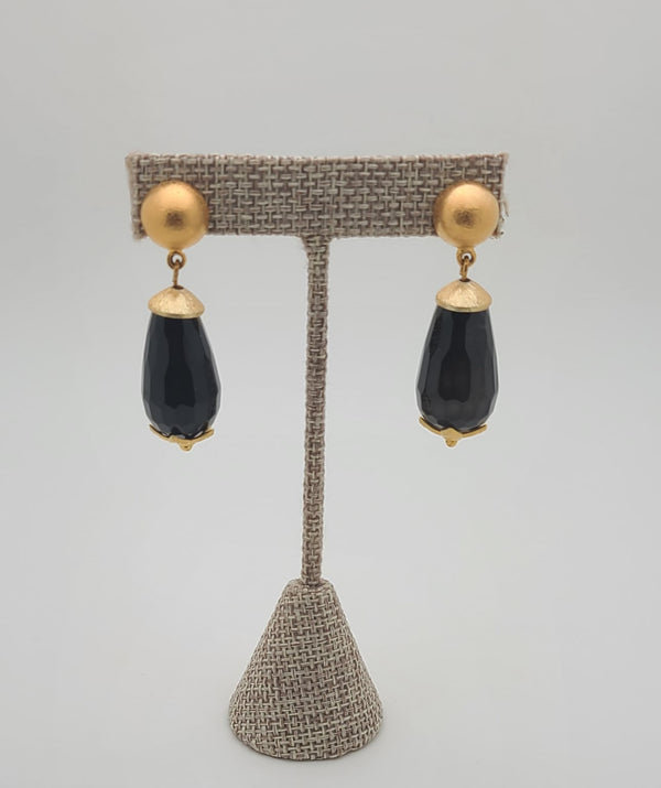 Lina Drop Earrings  (Black Agate)