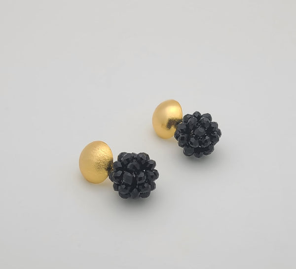Half Dome Beaded Ball Earrings (Black)