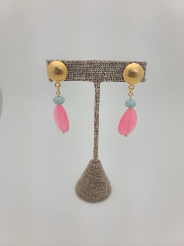 Rose Quartz Drop Earrings (small)