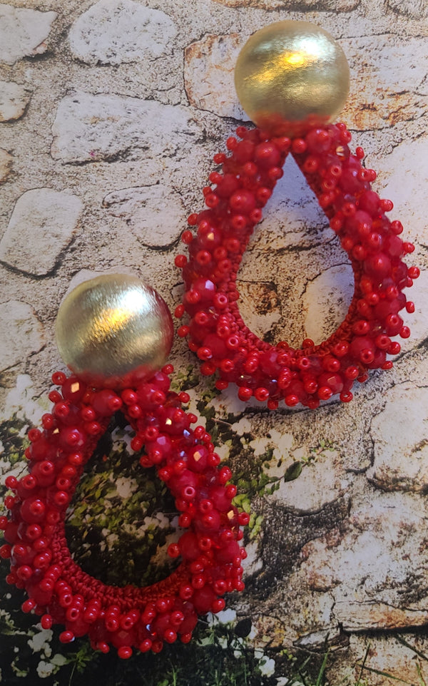 Greta beaded Earrings (Drop/Red)
