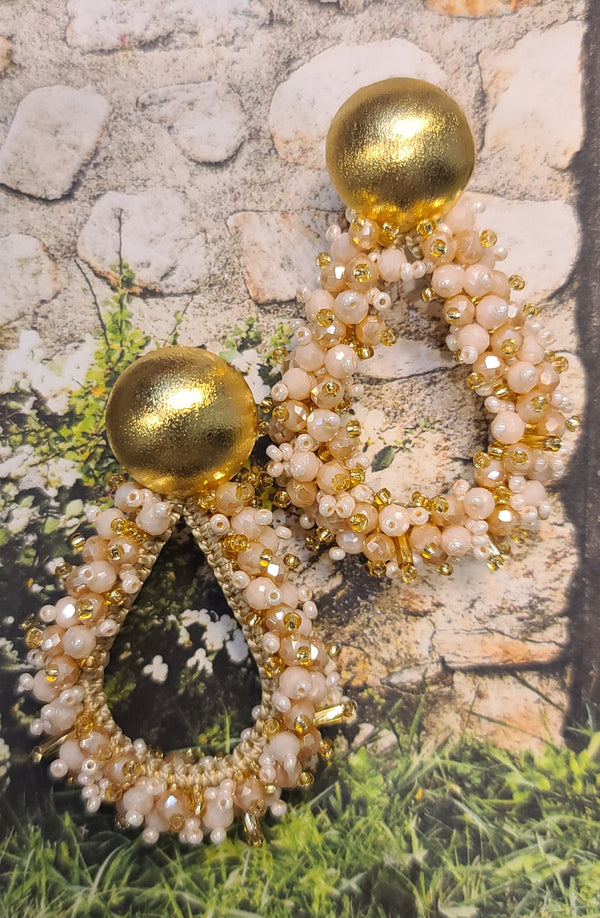 Greta beaded Earrings (Drop/Gold/Pearl)