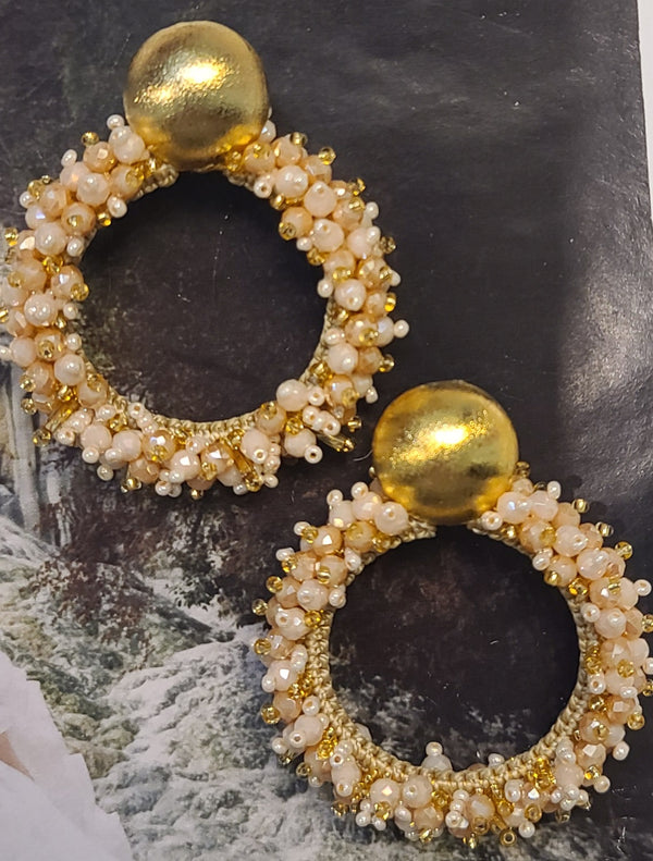Greta beaded Earrings ( Hoops/Pearl-Gold)