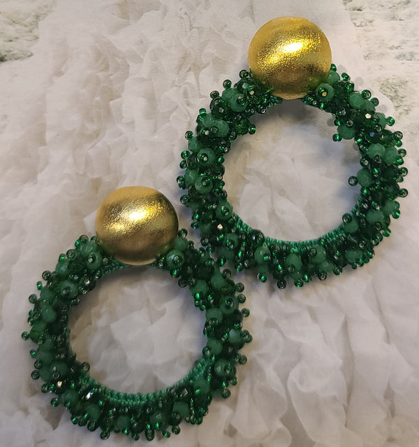 Greta beaded Earrings ( Hoops/Holiday Green)