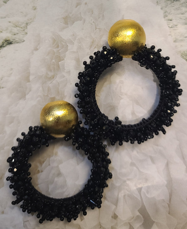 Greta beaded Earrings ( Hoops/Black)