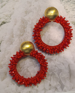 Greta beaded Earrings ( Hoops/Red)