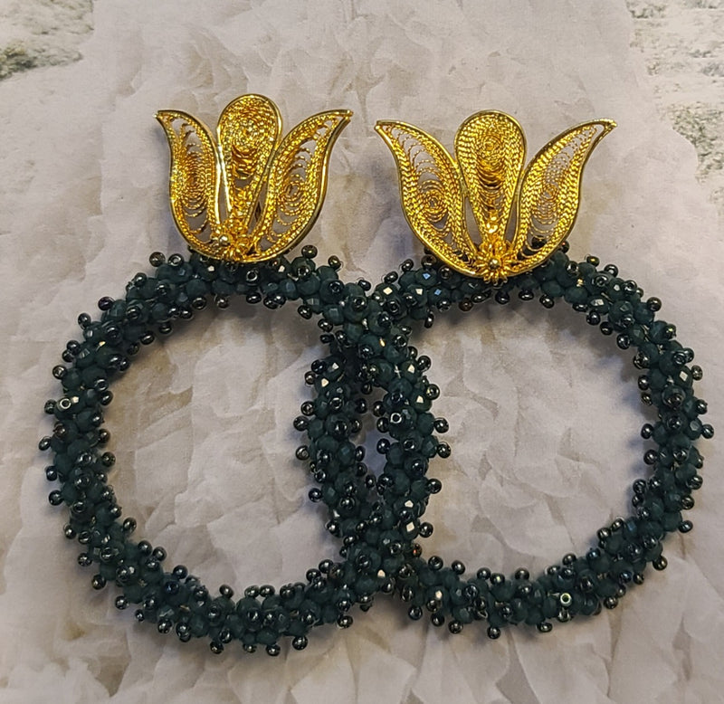 Ysa Beaded Hoops ( Green)