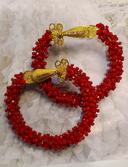 Grecia Beaded Hoops ( Red)