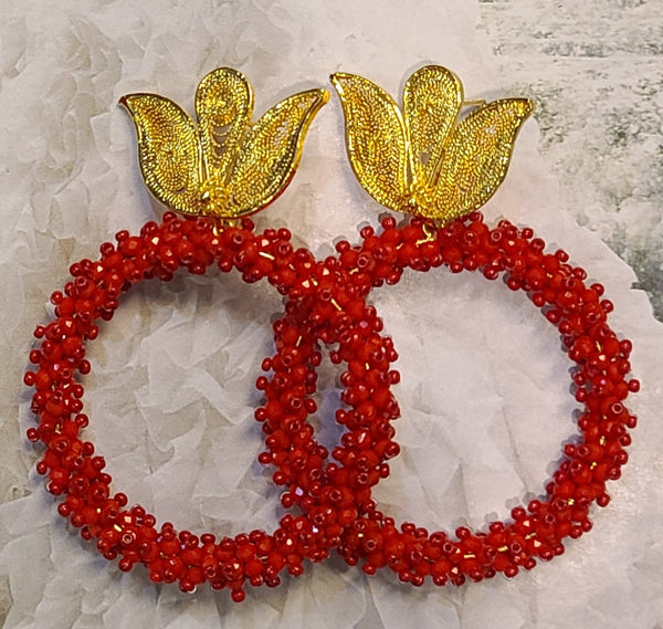 Ysa Beaded Hoops ( Red)